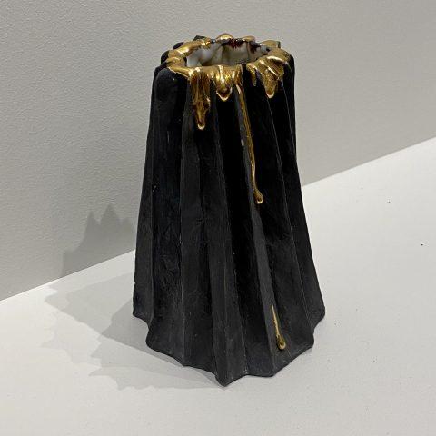 Black Gold Drip Folded Vase