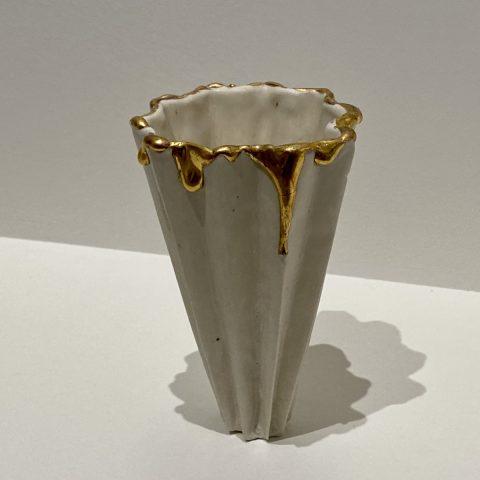 Gold Drip Folded Vase