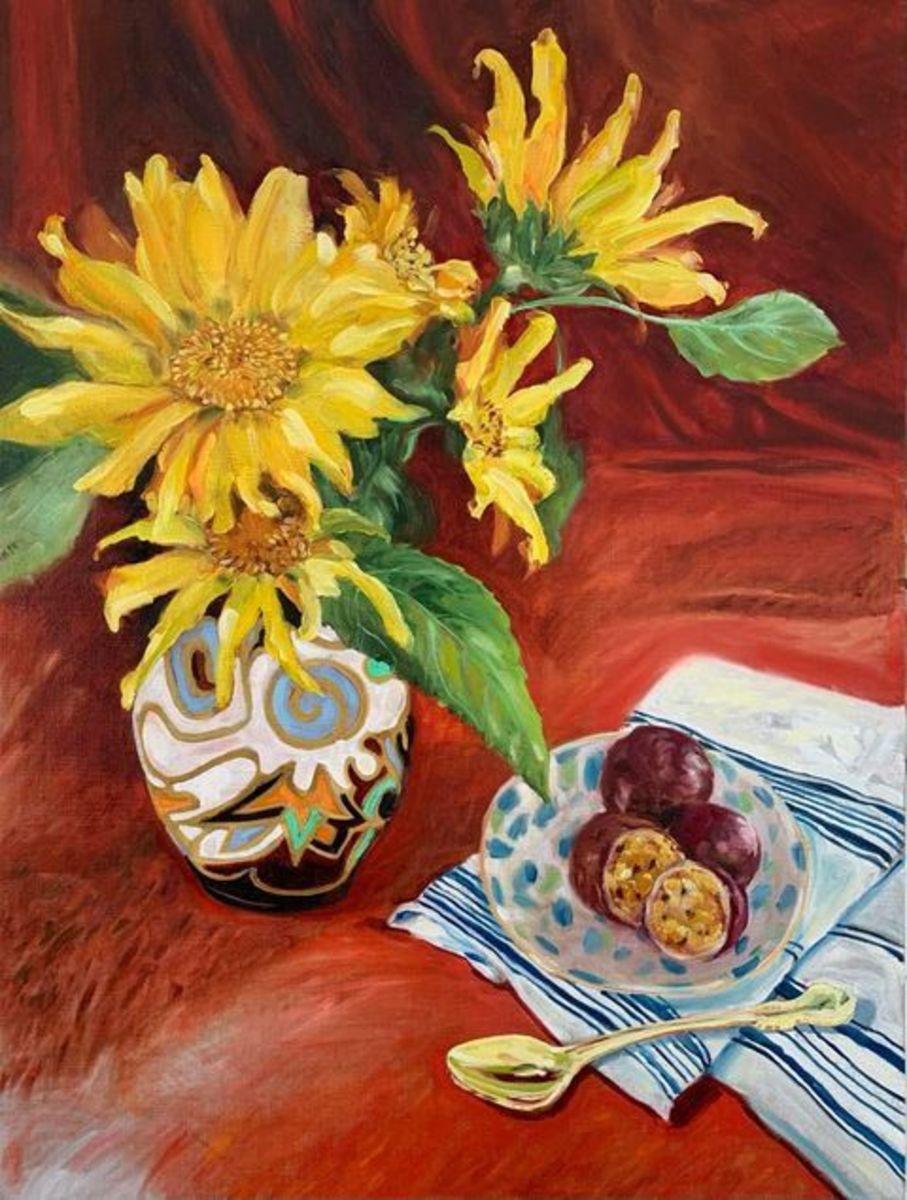 Sunflowers in Breetvelt Jug (Framed Oak Float Frame)